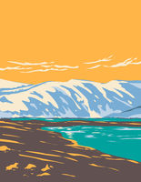 Loch Etchachan Within Cairngorms National Park in Central Cairngorms Plateau Area of Highlands Scotland UK Art Deco WPA Poster Art