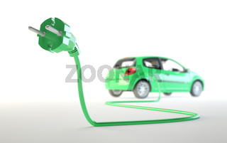 Electric car with a plug