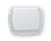 Top view of blank disposable styrofoam food container