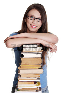 Teen caucasian woman (student) with books