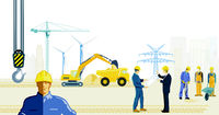 Construction site with construction workers and wind turbines and high voltage power line, illustrat