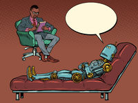 A black male psychotherapist at a psychotherapy session, listens to a robot patient, sits in a chair and makes notes in a notebook