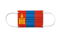 Flag of Mongolia on a disposable surgical mask. White background