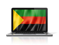 Azawad MNLA flag on laptop screen isolated on white. 3D illustration