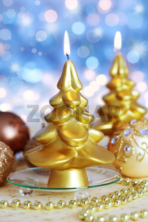 Beautiful golden Christmas candle tree