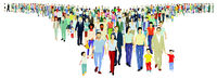 Large group of people step forward, on white background. Vector illustration