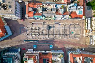 Ban Jelacic central square in Zagreb aerial view