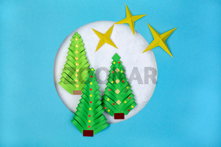Christmas and New Year card cut out of paper.