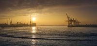 Sunrise int the Port of Hamburg