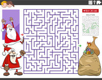 maze game with cartoon Santa Claus characters and gifts
