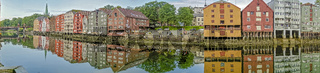 Panorama Of Old Warehouses On The River Trondheim Norway