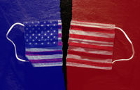 Ripped American flag facemask  split into red and blue representing Republican and Democrat split on COVID issues