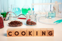 Pepper Chemical Analysis and Cooking Text on Wooden Cubes in Lab