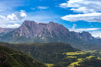 View through Isarco Valley to Schlern mountain, South Tyrol, Italy