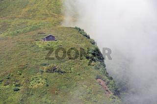 Holzhütte bei der Kanzelwand, Kleinwalsertal, Allgäu, Vorarlberg, Österreich, Europa