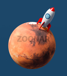 Cartoon Spaceship Landed on Mars on Blue Background