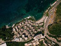 Budva, Montenegro - 07 june 2020: Dukley Gardens complex in Budva, Montenegro. Aerial drone shot.