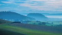Hegaulandschaft mit dem Berg Rosenegg und am Horzont die Schweizer Alpen