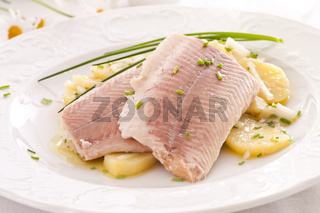 fish fillet with potato salad