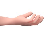 Grabbing Hand Gesture. 3D Cartoon Character. Isolated on White