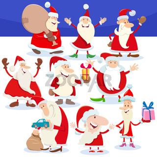 Santa Claus characters on Christmas time cartoon illustration