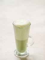Matcha green tea latte in glass