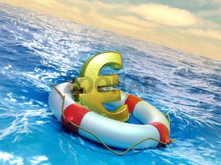Euro symbol on a lifesaver
