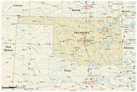 vector road map of the US state of Oklahoma