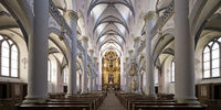 Market church, interior shot towards the baroque altar, Paderborn, Germany, Europe