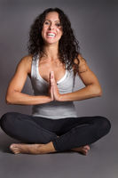 Pretty Brunette In Yoga Position