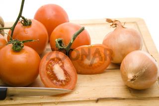 Tomaten und Zwiebeln
