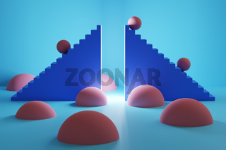 3D illustration of two staircases forming a gate