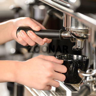 Close up making coffee cappuccino with machine