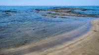 Seascape with sandy beach. Coastline Paphos Cyprus