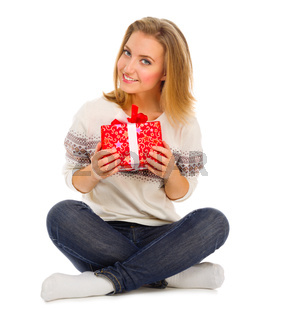 Young girl with gift box isolated