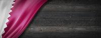 Qatar flag on black wood wall banner