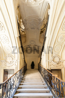 Marble staircase in historic palace with luxury interior - Savoia Royal Palace, Turin, Italy
