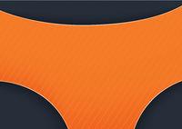 Orange Graphic Shape on Dark Stripped Background