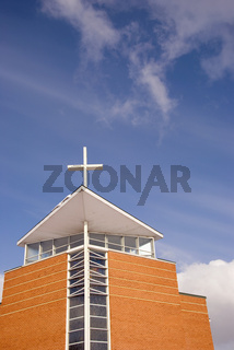 Religious architecture of new modern building with a cross