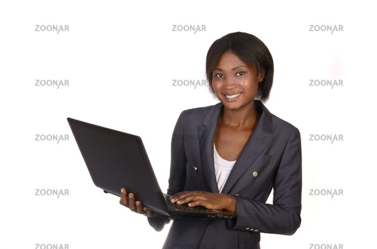 Beautiful african business woman with notebook