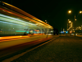 night tram red light trails