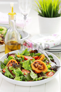 Delicious salad with tamarillos and olive oil