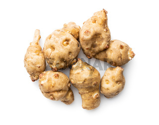 Raw jerusalem artichoke. Topinambur vegetable root.