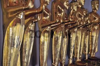 Vergoldete stehende Buddhastatuen, Abhahya-mudra: Buddha gibt Schutz und Frieden, Geste der Furchtlosigkeit oder Schutzgewährung, Wat Pho, Bangkok, Thailand, Asien