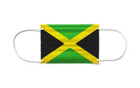 Flag of Jamaica on a disposable surgical mask. White background