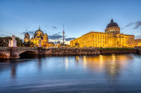 The City Palace, the Cathedral and the TV Tower in Berlin before sunrise