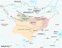 Map of the Central Asian Gobi Desert, Mongolia, China .eps