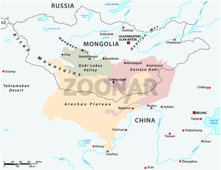 Map of the Central Asian Gobi Desert, Mongolia, China .eps