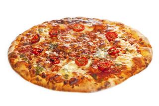 Close-up of stone backed pizza margarita