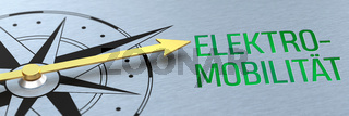 Compass needle pointing to the words E-Mobility in german - Elektromobilität  - 3d rendering